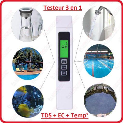 Testeur 3 en 1 TDS EC Conductivité température de poche